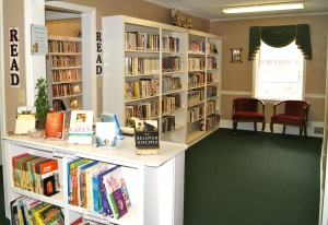 Coming in the main door to our Media Center. Junior & Youth non-fiction on bottom of display. The main room is half of the Christian adult fiction room. The room in the far left goes to our non-fiction, biographies, DVDs, music CDs, sermon DVDs/CDs.