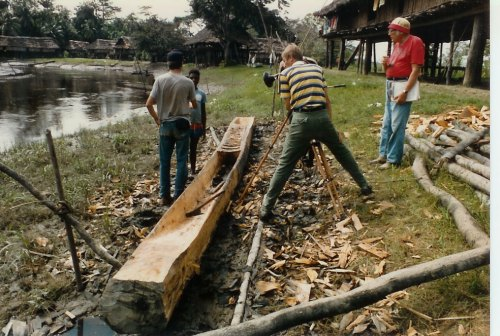 In this photo, Max and his father, Ken Anderson are working on a dramatic film in New Guinea.